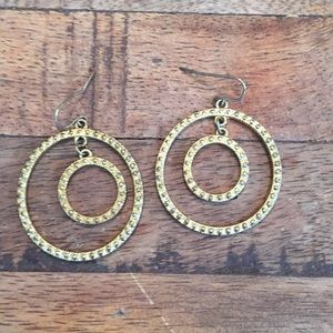 Jewelry - Gold Double Circle Dangle Earrings
